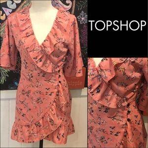 Topshop pink fun wrap DRESS sz4